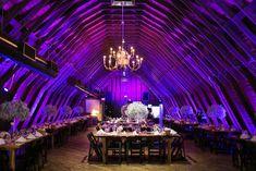 Perona Farms Barn Reception With Purple Uplighting Uplighting Wedding, Destination Wedding, Wedding Venues, Fairy Lights Wedding, Floral Wedding Decorations, Outdoor Wedding Inspiration, Farm Barn, Elegant Wedding, Real Weddings