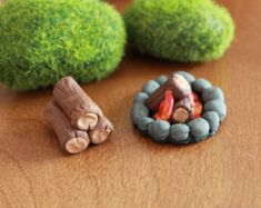 Camp Fire Ring and Firewood Stack - Polymer Clay -  Terrarium Accessory - Fairy Garden - Miniature Garden - Accent - Made to Order