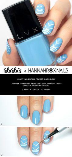 Powder Blue Geometric Nail Tutorial #howto #nails #nailart #lulus #hannahroxnails