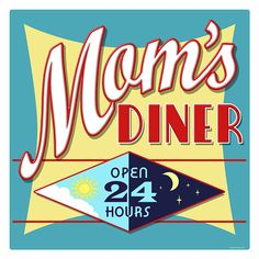 Decorate with vintage kitchen signs to create unique kitchen wall decor arrangements. Large selection of classic Eat signs to Mom Diner signs and many wall decor choices with retro kitchen signs. Retro Home Decor, Home Decor Wall Art, Vintage Mom, Retro Vintage, Vintage Ideas, Vintage Style, Diner Sign, Retro Diner, Fifties Diner