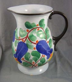 Large Floral Art Deco CORA Czech Pottery Pitcher | eBay