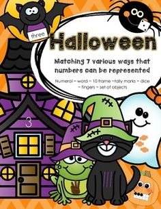 Halloween characters and haunted houses - Match 7 various ways that numbers can be represented, 0-10. - The ways are: numeral ~ word ~ 10-frame ~tally marks ~ dice ~ fingers ~ sets of Halloween candy. Cute characters for early learners. #KidSparkz