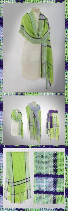 http://etsy.me/1W5e8lK  Summer Weight Shawl Our light summer weight shawl incorporates pastel shades of lime green accented with indigo stripes, lavender and sea green highlights. The cotton – silk blend with light colors and a loose weave allows the shawl to reflect the heat and breath, cooling and protecting the wearer from the effects of direct sun and wind while still being enough to ward off the chill of a nights cool breeze. Great for a day wrap at the beach or a casual evening out…