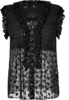 ShopStyle: Anna Sui Black Silk Blend Glitter Top