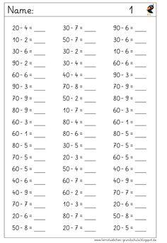 Lernstübchen: vom ganzen Zehner wegnehmen 1st Grade Math Worksheets, 2nd Grade Math, Math Class, Preschool Worksheets, Math Activities, Eureka Math, Subtraction Worksheets, Montessori Math, Math Addition