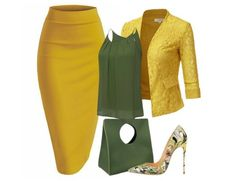 Moss green and mustard yellow skirt outfit Mode Outfits, Office Outfits, School Outfits, Classy Outfits, Stylish Outfits, Work Fashion, Fashion Looks, Church Fashion, 80s Fashion