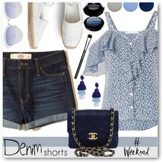 Denim Shorts For the Weekend by brendariley-1 on Polyvore featuring polyvore, moda, style, Veronica Beard, Hollister Co., Chanel, Oscar de la Renta, AQS by Aquaswiss, Giorgio Armani and MAC Cosmetics