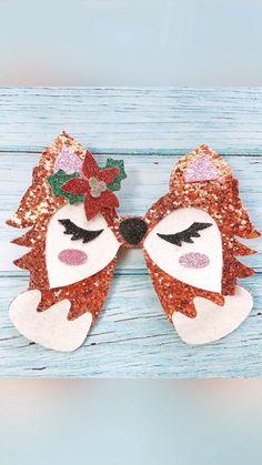 Christmas Whimsical Fox Glitter Bow - Nail Effect Unique Hair Bows, Diy Hair Bows, Diy Bow, Bow Hair Clips, Diy Leather Bows, Christmas Hair Bows, Halloween Hair Bows, Bow Template, Hair Bow Tutorial