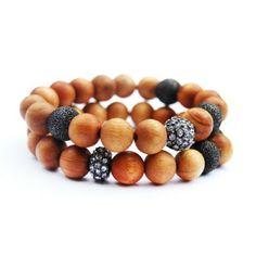 WILEY-SET - sandalwood pave oxidized silver bracelet set of 2   © VELINA