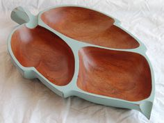 Duck Egg Blue vintage wood leaf tray. Annie Sloan Chalk paint. Sweet Macedonia etsy shop.