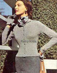 This PDF Pattern Book contains a collection of patterns of VOGUE Knitting patterns from issue No 35 dating from around the 1940s.  The contents include a Flare-Back Coat, Cardigans, Sweaters,Gloves,Jackets,Dresses, and a few Childrens Knits, and a few for men too. There are some stylish & very modern looking designs in it to suit a wide range of sizes.  The patterns are mostly for Ladies and the Booklet is Illustrated throughout with both Colour & Black & White Photographs. The collection…