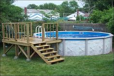 Swimming pool, Minimalist Wooden Deck Completing Over Ground Pool Design To Decorating Spacious Backyard: Creative Ideas of Above ground swi...