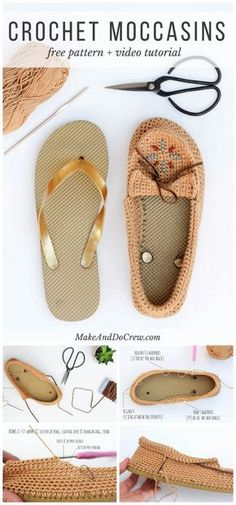 DIY Crochet Shoes With Flip Flop Soles – Free Moccasin Pattern - 22 Crochet Slippers / Boot / Shoes / Flip Flops - Free Patterns - DIY & Crafts
