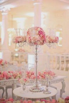 Pink Floral Design Silver Stem Wedding Reception Centerpiece