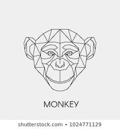 Immagine vettoriale stock 1024771129 a tema Vector Illustration Polygonal Abstract Linear Monkey (royalty free) Illustration Singe, Illustration Tattoo, Geometric Quilt, Geometric Logo, Geometric Tattoos, Monkey Drawing, Monkey Art, Typo Logo Design, Monkey Tattoos
