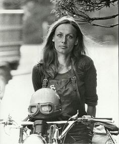 Anne-France Dautheville. First woman to ride a motorcycle around the world. She wrote two books about it in French