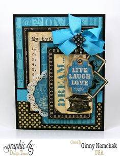 """""""Dream"""" Typography card by the amazing Ginny! #graphic45 #cardmaking"""