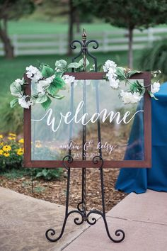 Frame an acrylic sign for a chic touch to your welcome sign! | Wedding Welcome Sign | Acrylic Wedding Sign | Acrylic Wedding Decor | Ceremony Signs | Wedding Welcome Ideas | Welcome Table | Rustic Wedding | Framed Acrylic Sign | Reception Decor | #rusticwedding #weddingideas