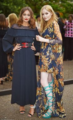 Cute duo: Actresses Ella Purnell (left) and Ellie Bamber (right) were picture perfect at the outdoor party