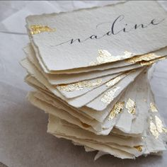 Modern Calligraphy Place Cards - Handmade Paper Table Cards - Watercolour Escort Cards - Wedding Stationery - Gold Leaf Ribbon Name Cards Wedding Menu Cards, Wedding Table Numbers, Wedding Stationary, Chalkboard Wedding, Wedding Name, Wedding Places, Wedding Guest Book, Monogram Wedding, Name Place Cards