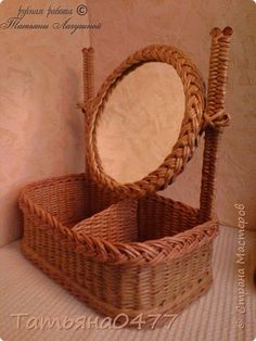 Поделка изделие Плетение Настольное зеркало Бумага газетная Трубочки бумажные фото 2