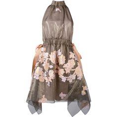 Fendi halterneck floral dress (38.200 ARS) ❤ liked on Polyvore featuring dresses, grey, circle skirt, halter neck dress, halter top, flared skirt and floral dresses