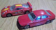 PAREJA DE COCHES BURAGO. BMW 535i / FERRARI F 40. ESCALA 1:43. MUY BUEN ESTADO.