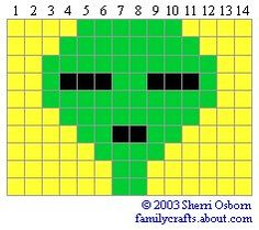 Alien beaded safety pin pattern project Design - need to alter it a bit. Add second row diagonal to face, lower mouth and/or increase eyes