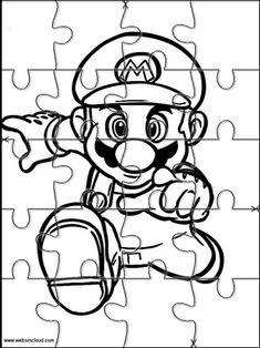 Mario Bros 32 Printable Jigsaw to cut out. Super Mario Bros, Game Mario Bros, Super Mario Birthday, Mario Birthday Party, Super Mario Party, Hulk Coloring Pages, Super Mario Coloring Pages, Coloring Pages For Kids, Coloring Books