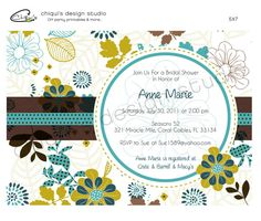 Flowers & Leaves  Bridal Shower Collection  by ChiquisDesignStudio