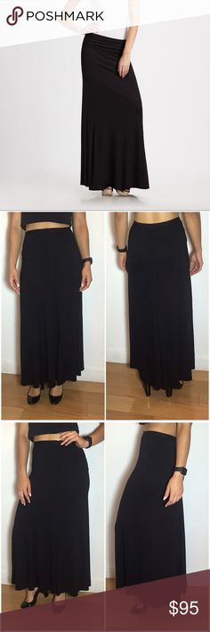 """VINCE Black Maxi Skirt Vince Black Maxi Skirt. -Elastic Waistband  -Waist: 27"""" -Fabric: 96% Viscose/ 4% Spandex -Length: 42"""" (at longest point) -Like new! *Cover photo slightly different from actual skirt.  NO Trades. Please make all offers through offer button. Vince Skirts Maxi"""