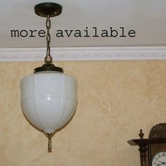 733  Vintage 20's 30's Ceiling Light Lamp Fixture Glass pendant  hall porch one? #MADEINUSA