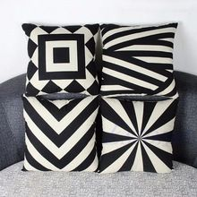 Free Shipping Simple Geometry Cotton Linen Pillow Case Sofa Throw Cushion Cover Home Decor Hot(China (Mainland))