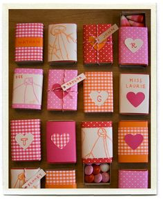 I saw a picture of these before but didn't look close enough to see what they were. Matchbox valentines are a cute idea!