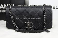 Chanel A66184 Flap shoulder Bag on chain in black quilted calfskin  Dimension: 25*15*8CM  Inquiry: buy@ladybag.us  website: http://www.ladybag.us   , #chanea66184, #chanelflapbag, #chanelshoulderbag