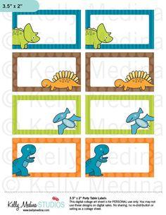 Etiquetas de dinosaurios imprimibles por Kellymedinastudios