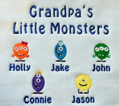 Grandpa's little monsters embroidered sweatshirt Embroidered Sweatshirts, Little Monsters, Machine Embroidery Designs, Snoopy, Monogram, Unisex, Holidays, My Favorite Things, Fictional Characters