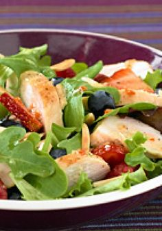 Chicken-Berry Salad -- Looking for a satisfying, healthy living recipe? Try our sweet and crunchy salad with chicken, snow peas and fresh berries. It's a crisp, tasty pick, ready for the dinner table in just 25 minutes.