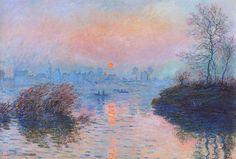 Claude Monet (French, Impressionism, 1840-1926): Sunset on the Seine at Lavacourt, Winter Effect (Soleil couchant sur la Seine à Lavacourt, effet d'hiver), 1880. Oil on canvas, 100 x 150 cm. Musée du Petit Palais, Paris, France.