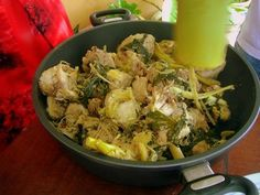 Manok Pansoh: Chicken in Bamboo - use lots of ginger stems and sweet potato shoots-exotic food in Sarawak