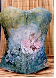 """Vintage Corset, with painted adaptation of the """"The Swing"""" by Jean-Honoré Fragonard"""