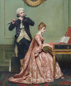 Robert James Gordon A Music Lesson(also known as Musical Duet) - The Largest Art reproductions Center In Our website. Low Wholesale Prices Great Pricing Quality Hand paintings for saleRobert James Gordon Classic Paintings, Old Paintings, Beautiful Paintings, Victorian Paintings, Victorian Art, Musical Duets, Renaissance Kunst, Piano Art, 18th Century Fashion