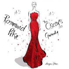 """Ok, I have 2 favourite dresses from the Oscars today. This beautiful red Givenchy dress worn by Rosamund Pike blew me away! Loved the fabric detail, it…"""