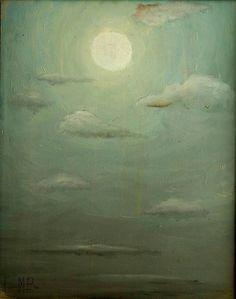 """""""La Luna y la Nube"""" Óleo/Tela. 60x40cm. Jesús Martínez. 1996. Col. Luz Sánchez. y Juan José Rodríguez."""