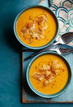 Cinnamon-Spiced Sweet Potato Soup with Maple Croutons - WomansDay.com