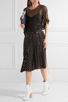Sacai | Pleated striped twill wrap skirt | NET-A-PORTER.COM