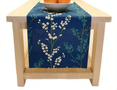 Blue Floral Table Runner Vines In White, Teal And Blue Table Runner 60 Inch,