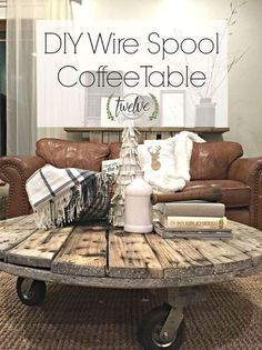 diy wire spool coffee table, diy, painted furniture, pallet, rustic furniture