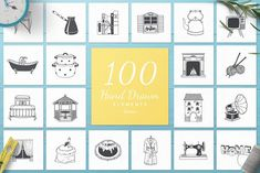 100 Hand Drawn Elements -Home- - Illustrations