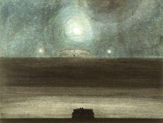 """Léon Spillaert : """"Plage au clair de lune"""" (1908) Lavis d'encre de chine, pinceau, crayon de couleur sur papier 480 x 630mm"""